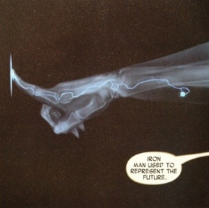 Tony Stark unlocks a door using a chip implanted in his arm. There are people in the world doing this now.