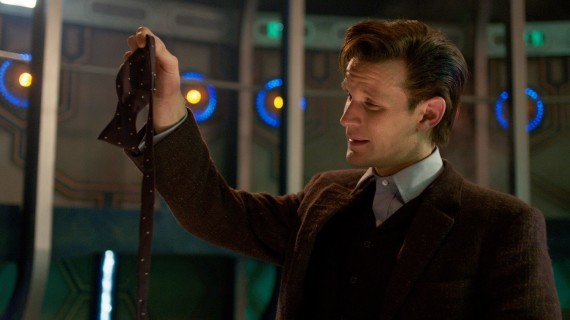 Matt Smith takes off his bow tie for the last time.