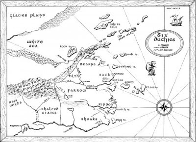 Map of the Six Duchies from Robin Hobb's Fitz books