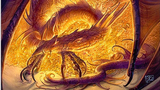 Smaug is the steroetypical treasure-hoarding dragon in The Hobbit.