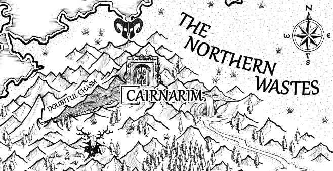 An excerpt from the fantasy map drawn for The Northern Wastes.