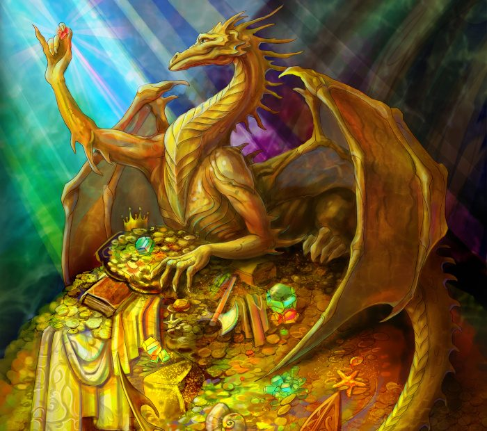 A dragon on a hoard of treasure.