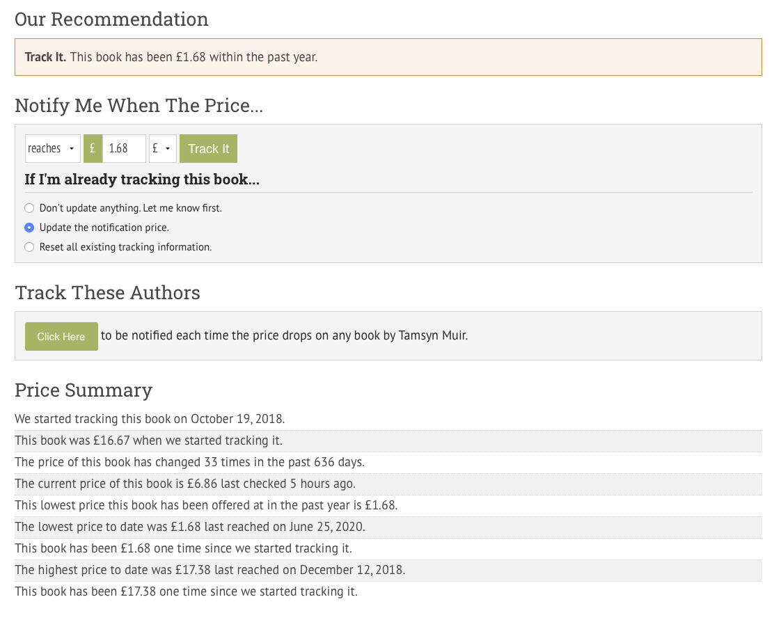 eReaderIQ provides a buy/track recommendation and a price history for every ebook on Amazon