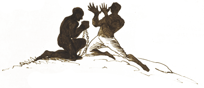 A sketch by Branwell Brontë showing two male figures kneeling on the ground. One man is in chains whilst the other raises his hands to the sky.